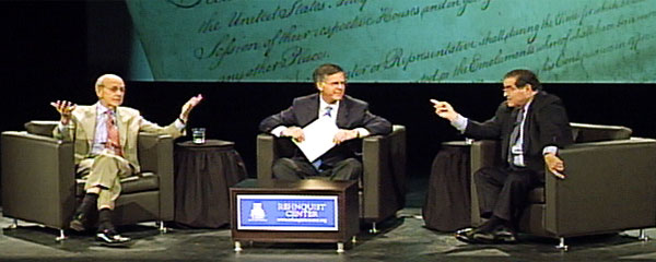 Justice Stephen Breyer (left), Pete Williams  and Justice Antonin Scalia