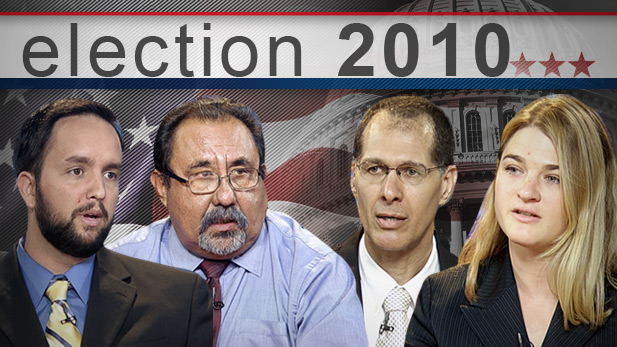 In the four way race in Arizona's CD 7, incumbent Democrat Raul Grijalva faces Republican Ruth McClung, Libertarian George Keane, and Independent Harley Meyer.