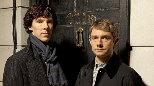 Benedict Cumberbatch (left) as Sherlock Holmes and Martin Freeman as John Watson.