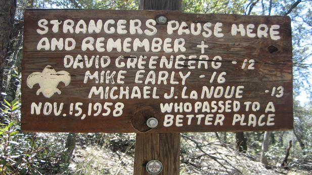 The first memorial erected in honor of the three scouts is at Josephine Saddle, halfway between the Madera Canyon Lodge and the summit of Mt. Baldy.