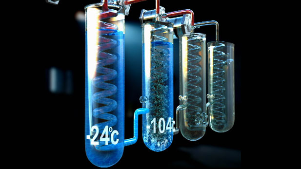 The Cascade process of using one liquefied gas to cool another to achieve colder and colder temperatures.