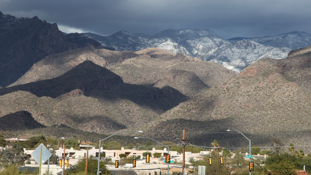 Snow covers the slopes of the Santa Catalina Mountains.