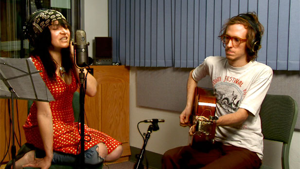 "Marianne Dissard playing a ""Spotlight Session"" in the Arizona Public Media studios"