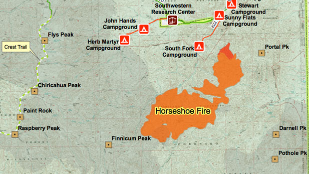 horsehoe fire map spot