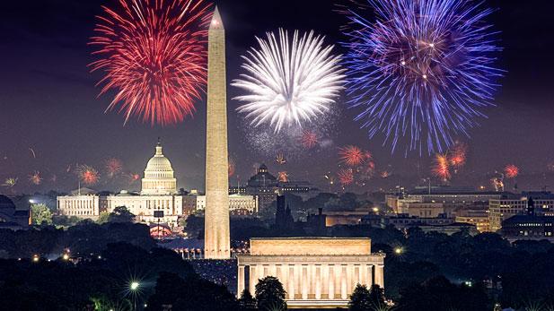 With extended coverage of the most dazzling display of fireworks in the country, the skyline of the nation's capital will come alive with vibrant and booming pyrotechnics, set against silhouettes of national landmarks: the U.S. Capitol, the Washington Monument and the Lincoln and Jefferson Memorials.