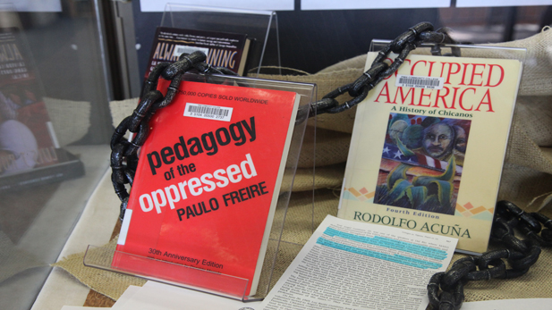 Display at the University of Arizona Library of books used in the Mexican American Studies classes. (File photo, 2010)