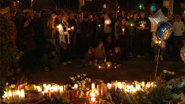 Vigil at Gabrielle Giffords' headquarters in Tucson, Arizona