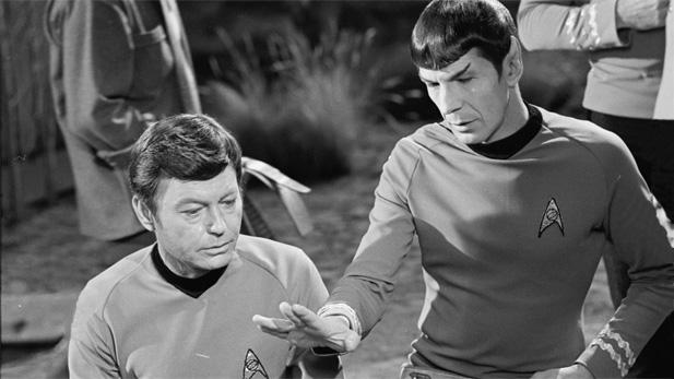 "Leonard Nimoy as Spock and DeForest Kelly as McCoy on ""Star Trek."""