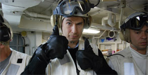 David Pogue on the aircraft carrier