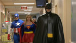 Comic book superheroes of Tucson, Justice League Arizona, visit the children's ward of local hospital as a part of a goodwill mission.