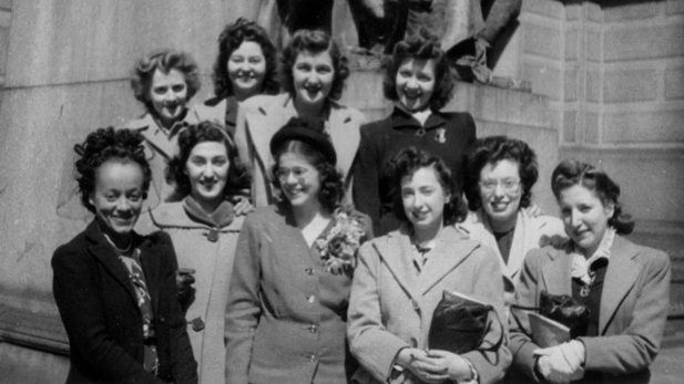 "A group shot of some of the women mathematicians who are featured in the documentary ""Top Secret Rosies""."