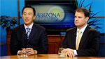 Alexander Chiu (left) a MD at the University of Arizona department of surgery and Michael Lemole (right) a MD. an chief at the University of Arizona division of neurosurgery talk about brain tumors.