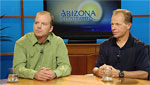 Stephen DeLong (left) an assistant research professor for Biosphere 2, and John Adams (right) the assistant director of Biosphere 2 explain the upcoming events for the Biosphere 2.