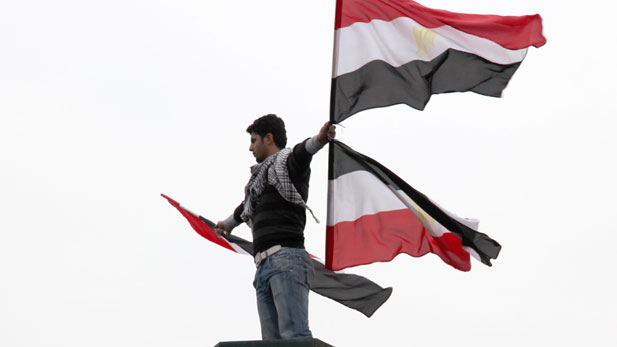 Pictured: Protestors filled Tahrir Square in Cairo demanding an end to the 30-year rule of president Hosni Mubarak.