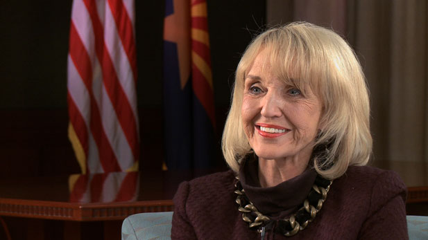 "Gov. Jan Brewer (R) touts her business development plan as the key to ""turning our economy around."""