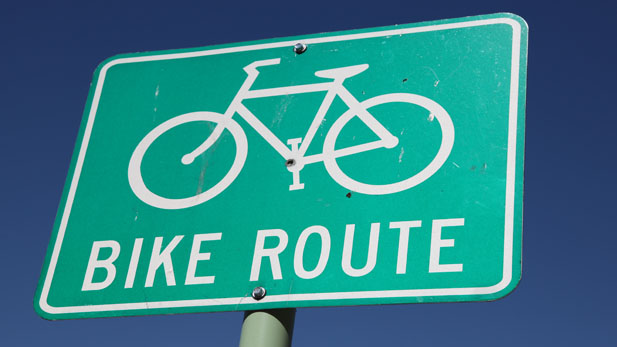 Signs identify bicycle routes throughout the city, county and state.