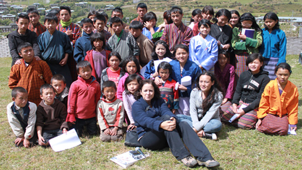 Lisa Napoli, in front of a group of Bhutanese youth from the READ Global Library in Ura, Bhutan.