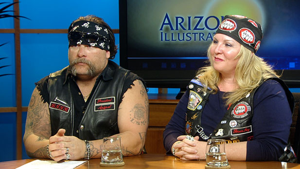 Animal and Poison Ivy, members of Bikers Against Child Abuse (B.A.C.A.), talk about their efforts to help children.
