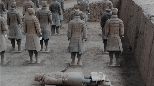 Terracotta warrior figures displayed at the rear part of pit one.