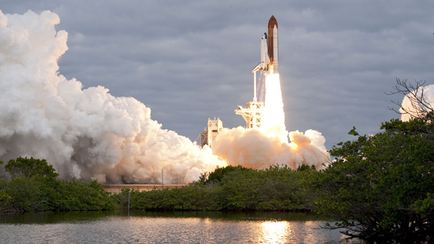 Space shuttle Endeavour and its six-member STS-134 crew head toward Earth orbit and rendezvous with the International Space Station. Liftoff was at 8:56 a.m. (EDT) on May 16, 2011, from Launch Pad 39A at NASA's Kennedy Space Center.