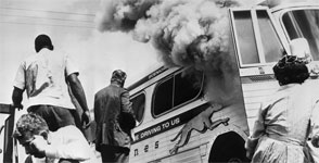 Firebombed Greyhound bus