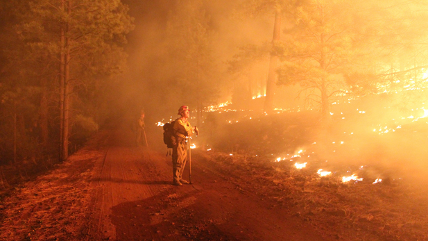 Firefighters conduct night burnout operations to help strengthen the fireline and keep the blace from advancing.