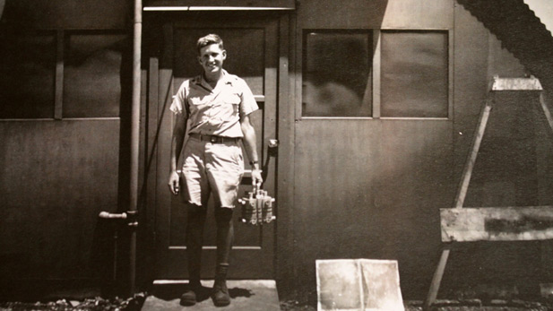 Dr. Harold Agnew in 1945. He is holding the core component of the bomb dropped on Nagasaki, Japan. This small box killed upwards of 70,000 people.