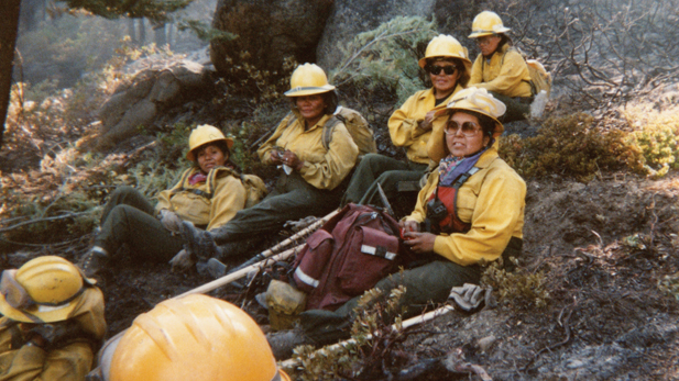 The Apache 8 crew pauses during another long day on the scene of a wildfire.