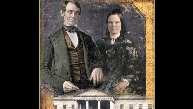 Abraham and Mary Lincoln pictured along with imagery of the White House and their marriage certificate.