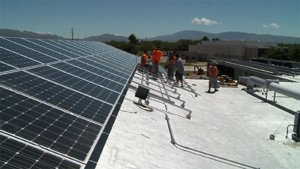 St. Gregory College Preparatory School is installing one of the largest solar energy systems in a Tucson school, producing 140 kilowatts of electricity.