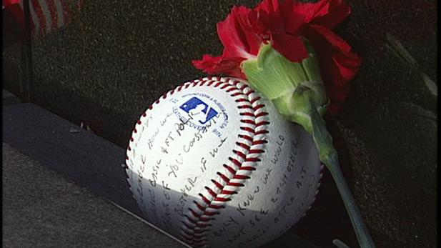 A baseball and flower left at the Vietnam Veterans Memorial.