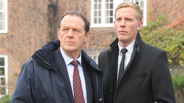 Pictured (L to R): Kevin Whately as DI Lewis and Laurence Fox as DS James Hathaway.