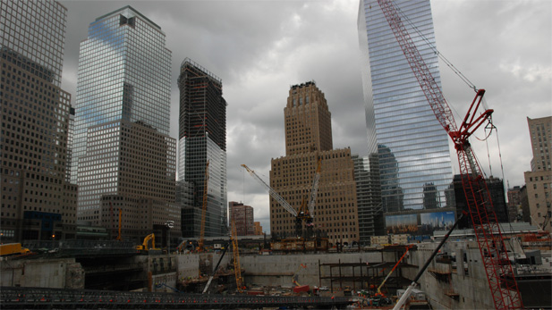 Ground Zero in 2008, when One World Trade Center was only 15 feet above ground