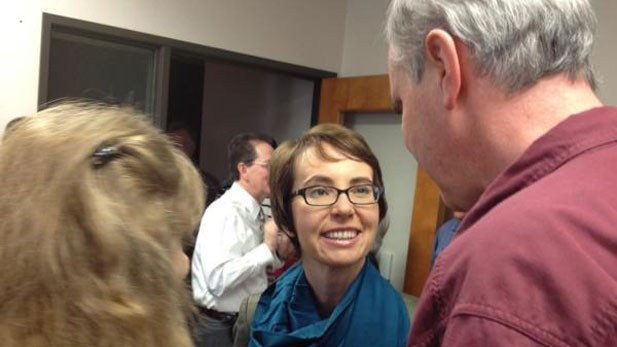 U.S. Rep. Gabrielle Giffords meets Monday with constituents who had come to see her on Jan. 8, 2011.