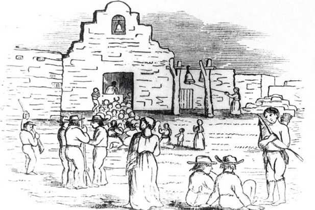 A sketch of the presidio gates at Tucson. The image features both Spaniards and Pima native Americans.
