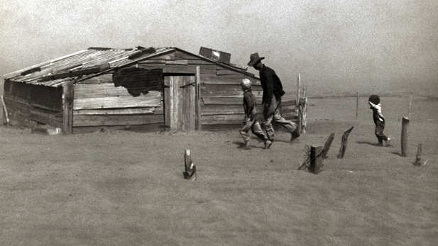 FSA photographer Arthur Rothstein captured this photograph of Art Coble and his sons, south of Boise City, Oklahoma, in April 1936. It became one of the iconic photographs of the Dust Bowl and one of the most reproduced photos of the twentieth century.