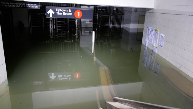 Subways in lower Manhattan are flooded after Hurricane Sandy