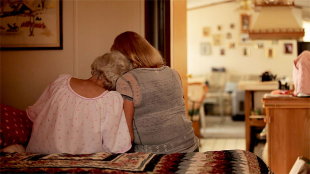 Joan Butterstein (left), terminally ill and contemplating suicide, with her daughter Kathleen (right).