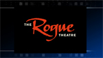 A sign for The Rogue Theatre company.