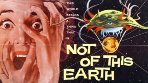"A theatrical poster for the low-budget Roger Corman science fiction thriller ""Not Of This Earth"" ( 1957)"