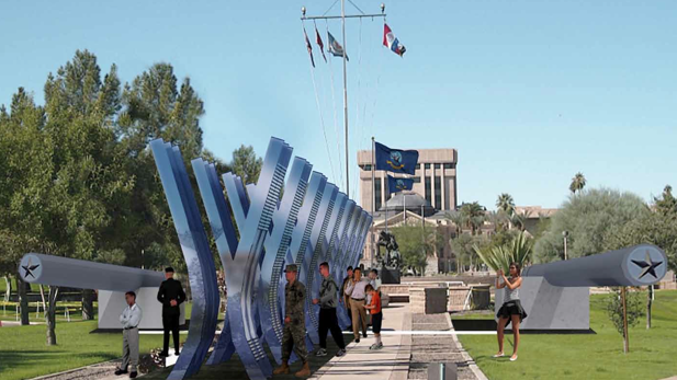 Architectural rendering of 'Salute the Fallen,' a memorial to World War II veterans planned for the Arizona State Capitol.