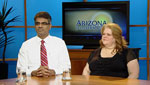 Critical Care Director of Center for Sleep Disorders, Sairam Parthasarathy M.D. (left), and UAMC Administrative Assistant, Ginger Brovas (right), discuss the prevalence of sleep disorders and sleep apnea among the population.