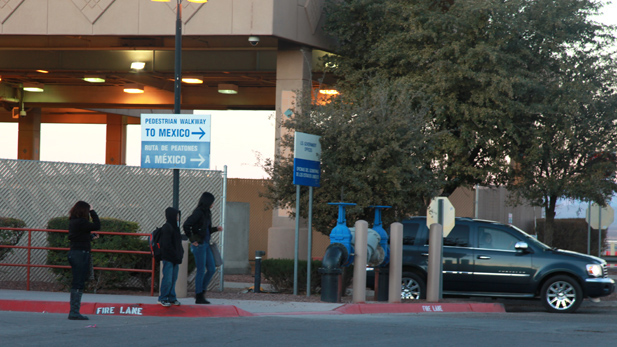 Students crossing into the United States through the pedestrian entrance at the port-of-entry in Douglas, Arizona