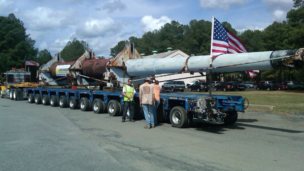 One of the gun barrels from the USS Missouri is loaded onto a truck in early March 2012, to be moved to Phoenix. It will become part of the state's WWII memorial, along with a gun barrel from the USS Arizona.