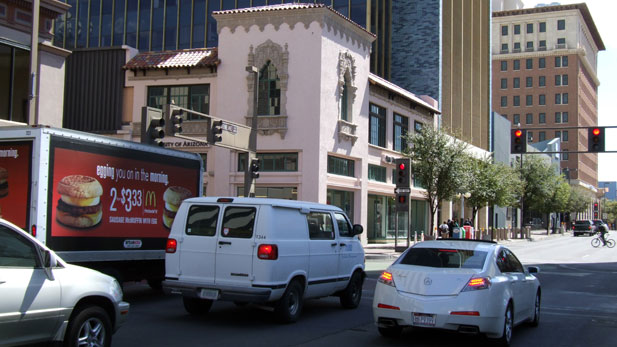 stock downtown Tucson traffic spotlight