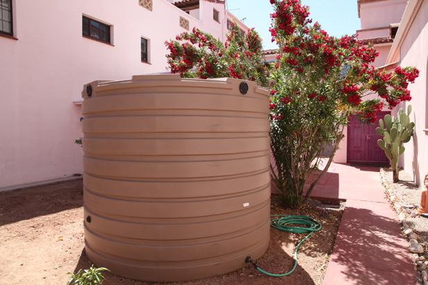 The monastery's above-ground well holds more than 2,000 gallons of rainwater and is used for irrigation.