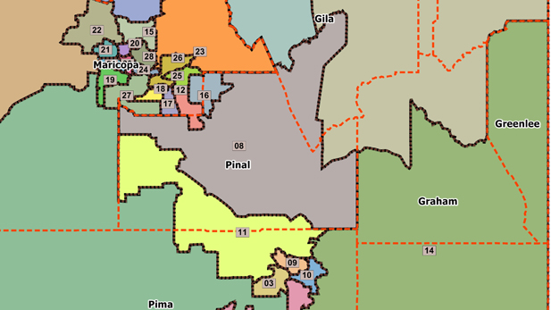 Arizona legislative districts, as drawn by the Independent Redistricting Commission in 2011.