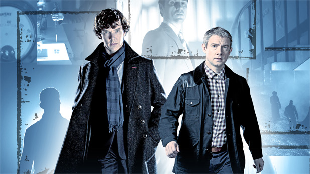 Benedict Cumberbatch as Sherlock Holmes and Martin Freeman as Dr. John Watson.