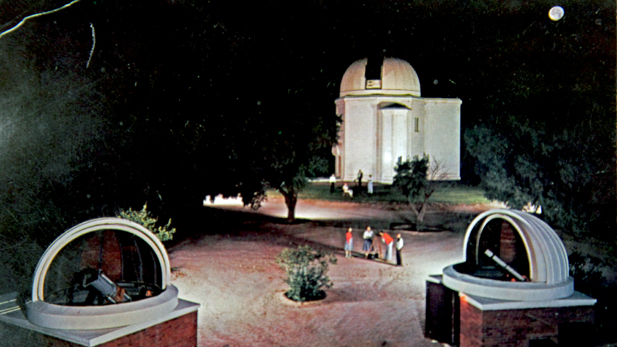 A picture postcard issued by the University of Arizona of Steward Observatory, 1955.