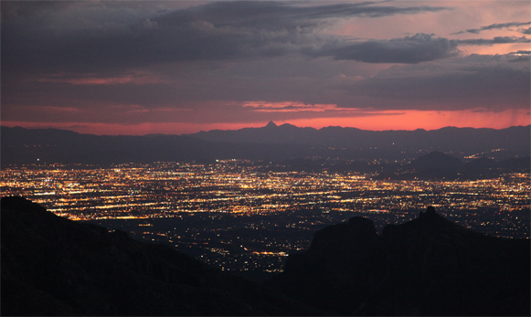 The Tucson night skyline is darker than other cities of average size.